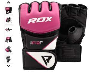 RDX MMA Leather-X Rękawice grappling/mma Różówe