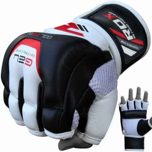 RDX Leather Gel Tech MMA UFC Grappling Gloves Fight Boxing Punch Bag T