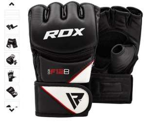 RDX MMA Leather-X  Rekawice grappling/mma Czarne