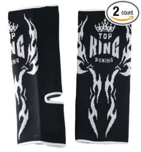 Top King Muay Thai Ankle Support Black with White Graphic