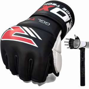 RDX Leather Gel Tech MMA 7oz Grappling Gloves Fight Boxing UFC Punch Bag G