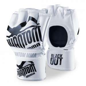 "Phantom MMA Gloves ""Blackout PU"" - White/Black"