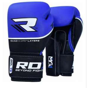 RDX QUAD-KORE LEATHER TRAINING GLOVES BLUE