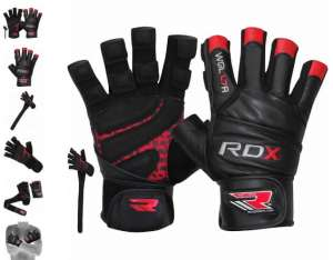 Rękawice fitness RDX Leather Bodybuilding Workout Gym Lifting Gloves